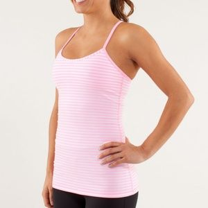 Lululemon Power Y Pink White Stripe Tank Top